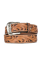 Ranger Belt Company Natural Floral with Cross Concho Western Fashion Belt