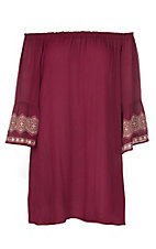 Flying Tomato Women's Burgundy with Embroidered Cuff Short Dress - Plus Sizes