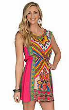 Flying Tomato Women's Pink Multicolor Print Dress
