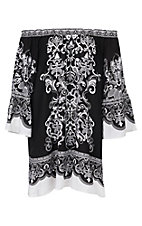 Flying Tomato Women's Black and White Print Dress - Plus Size