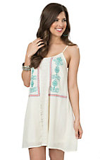 Flying Tomato Women's Ivory with Lace & Embroidery Sleeveless Dress