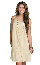 Flying Tomato Women's Cream With Lace Dress