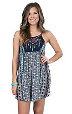 Flying Tomato Women's Navy Multicolor Mixed Print Sleeveless Dress