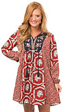 Flying Tomato Women's Rust Mixed Print with Floral Embroidery Long Sleeve Peasant Dress