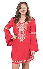 Flying Tomato Women's Coral with Cream Embroidery Long Bell Sleeve Dress