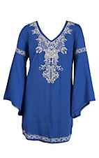 Flying Tomato Women's Royal Blue with Cream Embroidery Long Bell Sleeve Dress- Plus Sizes