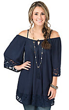 Flying Tomato Women's Navy with Lace Cold Shoulder 3/4 Sleeve Tunic