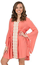 Flying Tomato Women's Coral with Cream Lace Long Bell Sleeves Dress
