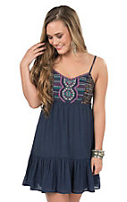 Flying Tomato Women's Navy with Tribal Embroidery Sleeveless Dress