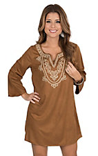 Flying Tomato Women's Camel Faux Suede with Gold Fancy Embroidery 3/4 Sleeve Dress