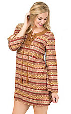 Flying Tomato Women's Camel Print with Laced Neck Long Sleeve Suede Dress