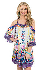 Flying Tomato Women's Ivory and Purple Multi Print Cold Shoulder Dress