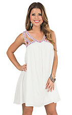 Flying Tomato Women's White with Embroidered Cutout Trim Sleeveless Dress