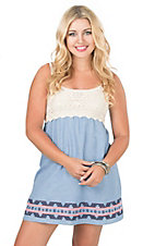 Flying Tomato Women's Denim with Crochet Top Sleeveless Dress