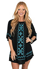 Flying Tomato Women's Black with Turquoise Tribal Embroidery Dress