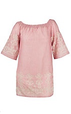 Flying Tomato Women's Pink and Tan Stripe with Ceam Crochet Embroidery Dress - Plus