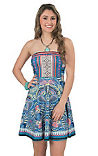 Flying Tomato Women's Blue Multicolor Print Strapless Fit Flare Dress