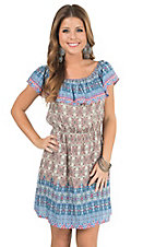 Flying Tomato Women's Taupe & Blue Mixed Print with Ruffle Top Tube Dress