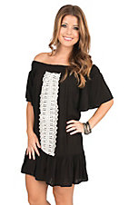 Flying Tomato Women's Black Off The Shoulder With Crochet Details Short Sleeve Dress