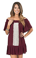 Flying Tomato Women's Maroon Off The Shoulder With Crochet Details Short Sleeve Dress
