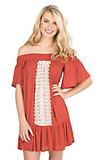Flying Tomato Women's Rust Off The Shoulder With Crochet Details Short Sleeve Dress