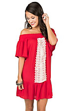 Flying Tomato Women's Red Off The Shoulder With Crochet Details Short Sleeve Dress