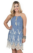 Flying Tomato Women's Vintage Wash Chambray with Cream Crochet & Floral Embroidery Sleeveless Dress