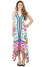 Flying Tomato Women's Cream with Red, Blue, and Green Print Sleeveless Maxi Dress