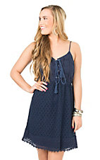 Flying Tomato Women's Navy Lace with a Lace Up Front Sleeveless Dress