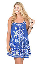 Flying Tomato Women's Blue with White Aztec Print Sleeveless Dress