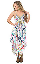 Flying Tomato Women's Cream with Multi Colored Exotic Print Sleeveless Sun Dress