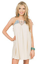 Flying Tomato Women's Cream with Denim Sleeveless Dress
