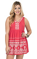 Flying Tomato Women's Coral with White Aztec Embroidery Sleeveless Dress