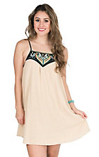 Flying Tomato Women's Taupe with Black Neckline with Multi Colored Aztec Embroidery Sleeveless Tent Dress
