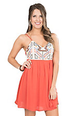 Flying Tomato Women's Coral with Multicolor Bodice Sleeveless Dress
