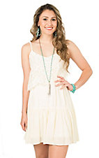 Flying Tomato Women's Ivory with Lace Overlay Sleeveless Dress