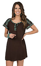 Flying Tomato Women's Chocolate with Tribal Embroidery Short Sleeve Dress