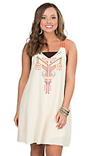 Flying Tomato Women's Cream with Coral, Grey, and Yellow Embroidery Sleeveless Dress