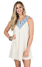 Flying Tomato Women's Cream Dress with Denim Neckline and Aztec Embroidery Sleeveless Tent Dress