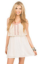 Flying Tomato Women's Cream with Coral Embroidery Sleeveless Dress