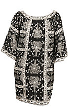 Flying Tomato Women's Black and Cream Gypsy Print 1/2 Sleeve Dress - Plus Size