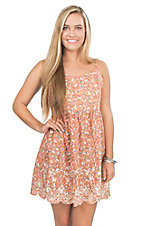 Flying Tomato Women's Coral with Dusty Floral Print Sleeveless A-Line Dress