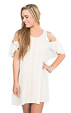 Flying Tomato Women's Off White with Crochet Front and Open Shoulder Dress