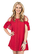 Flying Tomato Women's Red with Crochet Front and Open Shoulder Dress