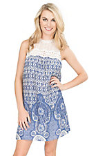Flying Tomato Women's Blue and White Floral Print with Illusion Neckline Sleeveless Dress