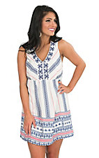 Flying Tomato Women's Ivory with Blue and Red Print and Blue Embroidery Sleeveless A-Line Dress