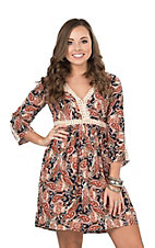 Flying Tomato Women's Orange, Cream, and Navy Large Paisley Print with Crochet Details 3/4 Sleeve Dress
