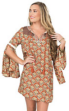 Flying Tomato Women's Rust Multi Colored Print with Embroidered Neckline Long Bell Sleeve Dress