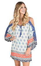 Flying Tomato Women's Ivory with Blue and Orange Multi Print and Crochet Detailing Cold Shoulder Long Bell Sleeve Dress