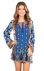 Flying Tomato Women's Blue and Cream Multi Print Long Sleeve Shift Dress